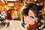 1girl aqua_eyes asymmetrical_bangs asymmetrical_hair bangs bicycle black_hair black_jacket blurry blurry_background blush christmas commentary_request earrings eyebrows_visible_through_hair face ground_vehicle hair_ribbon jacket jewelry light looking_at_viewer mary_(pokemon) medium_hair outdoors pokemon pokemon_(game) pokemon_swsh red_ribbon red_scarf ribbon scarf snow solo takuroo twintails
