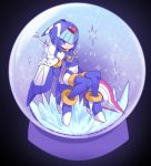 1girl android blue_eyes boots helmet high_heels highres holding holding_weapon ice leviathan_(rockman) omeehayo polearm rockman rockman_zero sitting smile snow_globe solo spear thigh-highs thigh_boots weapon