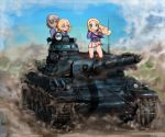 3girls :o amx_30b andou_(girls_und_panzer) bc_freedom_military_uniform black_eyes black_footwear black_hair blonde_hair blue_eyes blue_jacket blue_sky blue_vest boots clear_sky commentary_request dark_skin day dress_shirt drill_hair dust_cloud fan folding_fan girls_und_panzer green_eyes ground_vehicle hand_in_hair high_collar holding holding_fan jacket kneeling long_hair long_sleeves looking_at_another looking_at_viewer marie_(girls_und_panzer) medium_hair messy_hair military military_uniform military_vehicle miniskirt motor_vehicle multiple_girls oshida_(girls_und_panzer) panties pantyshot pantyshot_(kneeling) parted_lips pleated_skirt shasu_(lastochka) shirt skirt sky tank underwear uniform vest white_panties white_shirt white_skirt wind wind_lift