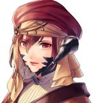 1girl au_ra braid brown_eyes brown_hair brown_headwear closed_mouth dragon_horns facial_mark final_fantasy final_fantasy_xiv hair_between_eyes hat head_chain horn_ornament horns light_smile lipstick looking_at_viewer makeup portrait red_lips scales short_hair simple_background solo veil white_background yuzuki_kaoru