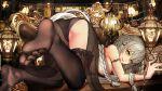 1girl bangs black_legwear black_skirt breasts fate/grand_order fate_(series) feet formal full_body fur_trim gudadan highres jeanne_d'arc_(alter)_(fate) jeanne_d'arc_(fate) jeanne_d'arc_(fate)_(all) long_hair looking_at_viewer pantyhose pleated_skirt silver_hair skirt thigh-highs thighs toes underwear