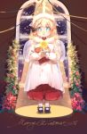 1girl altar angel_wings blonde_hair blue_eyes candle christmas english_text g36_(girls_frontline) girls_frontline hair_ribbon highres maid_headdress merry_christmas ribbon robe shoes shuzi solo window wings younger