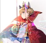 azur_lane bangs blonde_hair blue_eyes breasts cape crown double_bun epaulettes from_side gauntlets hair_ornament le_triomphant_(azur_lane) small_breasts solo striped striped_legwear sword weapon yuugen