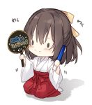 1girl bangs blush bow brown_hair chibi closed_mouth commentary_request fan female_saniwa_(touken_ranbu) full_body glowstick hair_between_eyes hair_bow hakama holding holding_fan japanese_clothes kimono long_sleeves mochizuki_shiina no_shoes paper_fan red_hakama saniwa_(touken_ranbu) seiza shadow sitting smile socks solid_oval_eyes solo touken_ranbu translated uchiwa white_kimono white_legwear wide_sleeves yellow_bow