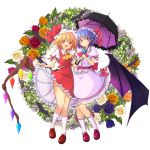 .sin 2girls :d ascot bat bat_wings black_umbrella blonde_hair closed_mouth flandre_scarlet flower frilled_skirt frills full_body hat hat_ribbon highres holding_arm kneehighs looking_at_viewer multiple_girls open_mouth orange_flower orange_rose parasol pink_skirt puffy_short_sleeves puffy_sleeves purple_flower purple_hair purple_rose red_eyes red_footwear red_ribbon red_skirt red_vest remilia_scarlet ribbon rose shoes short_hair short_sleeves siblings sisters skirt skirt_set smile touhou umbrella vest white_background white_flower white_legwear white_rose wings yellow_neckwear