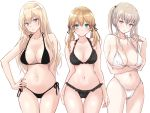 3girls aqua_eyes bad_anatomy bad_arm bad_proportions bikini bismarck_(kantai_collection) black_bikini blonde_hair blue_eyes breasts collarbone eyebrows_visible_through_hair graf_zeppelin_(kantai_collection) hair_between_eyes highres kantai_collection large_breasts long_hair low_twintails multiple_girls navel prinz_eugen_(kantai_collection) sidelocks simple_background smile swimsuit twintails u0709 violet_eyes white_background white_bikini
