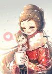 1girl artist_name black_eyes blush brown_hair chibi cup hair_up heart identity_v japanese_clothes kimono michiko_(identity_v) mug red_kimono simple_background smile snowing spoken_heart steam tempi_(yise426) wide_sleeves winter