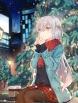 1girl anastasia_(fate/grand_order) bangs black_legwear black_sweater blue_eyes blue_jacket blurry blurry_background building christmas christmas_tree commentary_request eyebrows_visible_through_hair fate/grand_order fate_(series) green_eyes hairband highres jacket kyaroru light long_hair long_sleeves outdoors pantyhose red_scarf red_skirt scarf silver_hair sitting skirt solo sweater very_long_hair