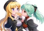 2girls ahoge bangs battle_girl_high_school beret black_bow black_capelet black_headwear black_jacket blonde_hair bow breasts capelet commentary_request eating eyebrows_visible_through_hair food fur-trimmed_capelet fur_trim green_hair hair_bow hat holding holding_food jacket kiyosato0928 long_hair multiple_girls open_clothes open_jacket ponytail red_eyes ringlets sadone sendouin_kaede shirt simple_background small_breasts striped striped_bow taiyaki upper_body very_long_hair violet_eyes wagashi white_background white_shirt