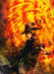 1girl berserk blurry bob_cut brown_cloak brown_hair brown_headwear brown_robe cloak fire glowing glowing_eyes graphite_(medium) hat magic morino_hiro open_hand open_mouth orange_eyes outstretched_arms robe schierke short_hair solo spread_fingers staff standing traditional_media witch witch_hat