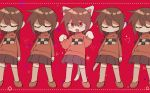 animal_ears braid brown_hair cat_ears cat_tail closed_eyes closed_mouth fang highres hrdrifter kitchen_knife long_hair long_sleeves madotsuki multiple_girls open_mouth paw_pose pixels red_background red_eyes shoes skirt socks sweater tail twin_braids yume_nikki