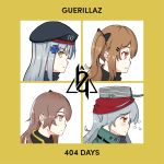 404_(girls_frontline) 404_logo_(girls_frontline) 4girls album_cover beret brown_eyes brown_hair cover english_text g11_(girls_frontline) girls_frontline gorillaz green_eyes hat hk416_(girls_frontline) multiple_girls parody silver_hair snafu ump45_(girls_frontline) ump9_(girls_frontline)