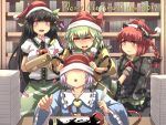 2019 4girls :3 :o =_= animal_ears arm_cannon black_hair blouse blue_blouse bookshelf braid cat_ears cat_tail closed_eyes commentary dress english_text green_dress green_hair green_skirt grey_legwear hair_between_eyes hair_ribbon hat hat_over_eyes highres holding_quill houshiruri indoors ink_bottle juliet_sleeves kaenbyou_rin komeiji_koishi komeiji_satori lavender_hair long_hair long_sleeves merry_christmas multiple_girls multiple_tails no_wings open_mouth paper_stack puffy_short_sleeves puffy_sleeves quill red_eyes redhead reiuji_utsuho ribbon santa_hat shirt short_hair short_sleeves single_braid sitting skirt sleeves_past_fingers sleeves_past_wrists socks spilling standing standing_on_one_leg table tail third_eye touhou very_long_hair weapon white_blouse wide_sleeves yellow_shirt