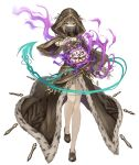 1girl aqua_eyes birdcage bracelet brown_hair cage full_body fur_trim gretel_(sinoalice) hansel_(sinoalice) hood hood_up hooded_robe jewelry ji_no looking_at_viewer nail_polish official_art robe see-through short_hair sinoalice solo transparent_background veil wide_sleeves