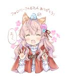 1girl :d ^_^ ahoge animal animal_ear_fluff animal_ears animal_on_head belt belt_buckle bird bird_on_head blue_flower bluebird blush brown_belt buckle capelet center_frills closed_eyes commentary_request cropped_torso facing_viewer fang floral_background flower frills hair_flower hair_ornament hair_ribbon hood hood_down hooded_capelet long_hair on_head open_mouth original pink_flower pink_hair red_capelet red_ribbon ribbon shirt simple_background smile solo translated upper_body wataame27 white_background white_shirt wolf-chan_(wataame27) wolf_ears