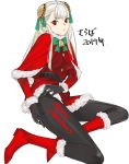 1girl bell black_gloves black_legwear body_writing boots capcom_fighting_jam christmas commentary_request dress gloves hairpods highres ingrid merry_christmas pantyhose red_dress red_eyes santa_boots santa_costume skirt skirt_lift solo tetsu_(kimuchi) translated white_hair