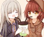 2girls :d ^_^ bangs bendy_straw black_jacket blush bow brown_background brown_coat brown_eyes brown_hair brown_headwear brown_shirt closed_eyes coat collared_shirt cup disposable_cup dotted_line dress_shirt drinking_straw eyebrows_visible_through_hair grey_hair hair_between_eyes hair_ornament hairclip hat holding holding_cup jacket long_hair long_sleeves multiple_girls open_clothes open_jacket open_mouth original purple_bow shared_drink shirt sleeves_past_wrists smile upper_body very_long_hair wide_sleeves yuuhagi_(amaretto-no-natsu)