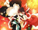 2girls blush gift hakurei_reimu hat highres kirisame_marisa lying merry_christmas multiple_girls santa_costume touhou
