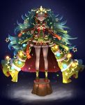 1girl armband bare_legs big_hair christmas christmas_lights christmas_tree christmas_tree_costume closed_eyes dress fire_emblem fire_emblem:_three_houses fire_emblem_heroes flat_chest full_body fur_trim glowing gonzarez green_hair green_neckwear hair_ornament hands_on_hips highres long_hair night pointy_ears red_footwear ribbon santa_costume shoes short_dress side_braids smirk solo sothis_(fire_emblem) sparkle standing star thighs tiara tree_stump very_long_hair wavy_hair wristband