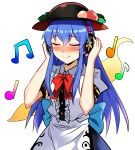1girl bangs beamed_eighth_notes black_headwear blouse blue_hair blue_skirt blush bow bowtie center_frills closed_eyes commentary_request cowboy_shot e.o. eighth_note eyebrows_visible_through_hair food fruit hair_between_eyes hands_up headphones highres hinanawi_tenshi leaf long_hair musical_note nose_blush peach puffy_short_sleeves puffy_sleeves red_bow red_neckwear short_sleeves sidelocks simple_background skirt smile solo standing touhou white_background white_blouse