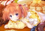1girl blueberry blush breasts cafe_stella_to_shinigami_no_chou cake doughnut eating food food_on_face fork fruit hair_ornament large_breasts licking_lips looking_at_viewer lying on_stomach orange_hair pancake sekine_irie short_sleeves short_twintails skirt slice_of_cake smile solo stack_of_pancakes sumizome_nozomi syrup thigh-highs tongue tongue_out twintails violet_eyes white_legwear yellow_skirt