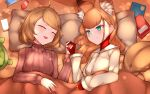 2girls :d absurdres ahoge andou_inari animal_ear_fluff animal_ears bangs bed_sheet blue_eyes breasts brown_hair brown_sweater cellphone character_request choumi_wuti_(xueye_fanmang_zhong) closed_eyes closed_mouth commentary_request directional_arrow fox_ears highres holding_hands jacket long_hair long_sleeves lying medium_breasts multiple_girls on_back on_side open_mouth phone pillow ribbed_sweater smile sweater under_covers virtual_youtuber vr_link white_jacket