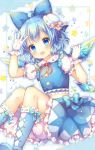 1girl :d ahoge arm_up bloomers blue_bow blue_eyes blue_footwear blue_hair blue_headwear blue_shirt blue_skirt blush boots bow cirno collared_shirt commentary_request frilled_skirt frills gloves hair_bow hat highres ice ice_wings knee_boots looking_at_viewer midriff mini_hat neck_ribbon open_mouth pjrmhm_coa puffy_short_sleeves puffy_sleeves red_ribbon ribbon shirt shoe_soles short_sleeves skirt smile solo star tilted_headwear touhou underwear white_bloomers white_gloves wings