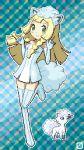 alolan_vulpix alolan_vulpix_(cosplay) blonde_hair blue_eyes boots cosplay green_eyes highres leg_up lillie_(pokemon) pixel_art pokemon pokemon_(game) pokemon_swsh tail thigh-highs thigh_boots