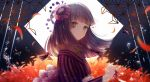 1girl air_bubble asa_no_ha_(pattern) autumn_leaves bangs blunt_bangs braid brown_eyes brown_hair bubble commentary_request flower from_side hair_flower hair_ornament hair_rings hair_stick highlights hime_cut japanese_clothes kimono long_hair long_sleeves motion_blur multicolored_hair original pabo petals pinky_out purple_hair red_string side_braid sidelocks smile solo string striped striped_kimono vertical_stripes water
