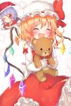 2girls :d bell blonde_hair blue_hair blush christmas crystal eyebrows_visible_through_hair fake_facial_hair fake_mustache flandre_scarlet hanen_(borry) hat highres holding holding_stuffed_animal long_sleeves mob_cap multiple_girls one_eye_closed open_mouth red_eyes red_headwear red_skirt remilia_scarlet santa_hat short_hair siblings side_ponytail sisters skirt smile solo stuffed_animal stuffed_toy teddy_bear touhou white_headwear wings