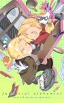 2boys alphonse_elric animal asymmetrical_bangs bangs black_pants blonde_hair blush book braid brown_coat brown_footwear cat chibi coat coin comb edward_elric full_body fullmetal_alchemist gloves highres holding_hand holy_pumpkin long_hair long_sleeves looking_at_another looking_at_viewer looking_back male_focus money multiple_boys newspaper open_mouth pants paper parted_bangs pen ponytail shoes suitcase wallet white_gloves yellow_eyes
