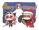 1boy 1girl alternate_legwear ammunition_belt astolfo_(fate) astolfo_(saber)_(fate) black_bow black_gloves black_neckwear black_ribbon bow bowtie braid closed_eyes fate/grand_order fate_(series) florence_nightingale_(fate/grand_order) florence_nightingale_santa_(fate/grand_order) front_slit fur-trimmed_hat fur-trimmed_sleeves fur_trim gloves gun hair_intakes hat juliet_sleeves l.n layered_skirt light_machine_gun long_sleeves low_twintails multicolored_bow multicolored_hair otoko_no_ko pink_hair puffy_sleeves red_headwear ribbon riyo_(lyomsnpmp)_(style) santa_costume santa_hat streaked_hair syringe twintails umbrella_gun wavy_mouth weapon white_hair wing_collar