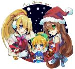 3girls android bangs blonde_hair blue_eyes blush bow brown_hair capcom character_doll christmas ciel_(rockman) earmuffs english_commentary gloves green_eyes hair_between_eyes hair_bow hair_ribbon hat high_ponytail iris_(rockman_x) looking_at_viewer merry_christmas multiple_girls open_mouth ribbon rockman rockman_(character) rockman_(classic) rockman_x rockman_zero roll saionjiakane santa_dress santa_hat sleeveless smile snow white_gloves zero_(rockman)
