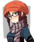 bangs blush braid brown_hair chata_maru_(irori_sabou) commentary_request consort_yu_(fate) ear_piercing eyebrows_visible_through_hair face fate/grand_order fate_(series) frown glasses grey_scarf highres looking_at_viewer orange_headwear piercing scarf
