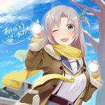 1girl antenna_hair bangs blush breasts brown_jacket clouds day eyebrows_visible_through_hair fur_trim green_eyes grey_hair hair_ribbon holding holding_snowball jacket kadzuki_kan kantai_collection kinugasa_(kantai_collection) long_hair long_sleeves one_eye_closed open_mouth outdoors remodel_(kantai_collection) ribbon sailor_collar scarf school_uniform serafuku snow snowball solo sun tree yellow_neckwear yellow_scarf