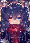 1girl animal_ears bangs black_hair blue_eyes blurry blurry_background blush bokeh cat_ears cat_hair_ornament christmas depth_of_field english_text enpera fake_animal_ears hair_ornament hairclip happy_new_year heterochromia long_hair looking_at_viewer merry_christmas momoko_(momoko14) motion_blur new_year original red_scarf scarf scarf_over_mouth slit_pupils smile snowflakes snowing solo upper_body yellow_eyes