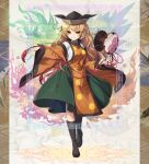 1girl autumn bangs black_headwear black_legwear blonde_hair boots border breasts collared_shirt commentary_request detached_sleeves eyebrows_visible_through_hair fingernails floral_background full_body green_skirt grin halftone highres knee_boots kozakura_(dictionary) layered_clothing long_hair long_sleeves looking_at_viewer matara_okina medium_breasts patterned_background seasons shiny shiny_clothes shiny_hair shirt sidelocks skirt smile solo spring_(season) standing summer sun_print symbol symbolism tabard touhou very_long_hair white_shirt wide_sleeves winter yellow_eyes
