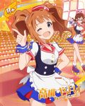 blue_eyes blush character_name dress idolmaster_million_live!_theater_days long_hair orange_hair smile takatsuki_yayoi twintails wink