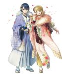 1boy 1girl alfonse_(fire_emblem) argon_(exys) bangs blonde_hair blue_eyes blue_hair fire_emblem fire_emblem_heroes floral_print full_body gradient gradient_hair green_eyes highres japanese_clothes kimono long_hair low-tied_long_hair multicolored_hair obi official_art pink_hair sandals sash sharena short_hair tabi tied_hair transparent_background wide_sleeves