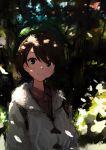 green_headwear grey_cardigan highres hooded_cardigan light_smile melon_syrup outdoors pokemon pokemon_(game) pokemon_swsh tam_o'_shanter upper_body yuuri_(pokemon)