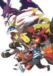 1boy black_hair incineroar lycanroc melmetal naganadel oomura_yuusuke pikachu pokemon pokemon_(anime) pokemon_sm_(anime) rowlet satoshi_(pokemon) solgaleo