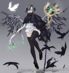1girl asymmetrical_clothes bird black_hair black_legwear blue_eyes blush claws earrings fang from_below grey_background hair_over_one_eye highres jewelry kasagarasu looking_at_viewer multicolored_hair open_mouth original short_hair solo standing streaked_hair thigh-highs wings