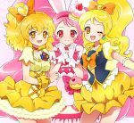 3girls ;d animal_ears black_dress blonde_hair blush bow brooch bubble_skirt cake_hair_ornament choker closed_mouth cowboy_shot cure_honey cure_pine cure_whip dress earrings food_themed_hair_ornament fresh_precure! gloves hair_bow hair_ornament hairband happinesscharge_precure! heart heart_hair_ornament jewelry kagami_chihiro kirakira_precure_a_la_mode long_hair looking_at_viewer magical_girl multiple_girls neck one_eye_closed oomori_yuuko open_mouth orange_bow orange_eyes orange_neckwear petticoat pink_background pink_bow pink_eyes pink_hair pink_neckwear ponytail precure puffy_sleeves rabbit_ears red_hairband shiny shiny_hair short_hair side_ponytail skirt smile twintails usami_ichika white_dress white_gloves wrist_cuffs yamabuki_inori yellow_dress yellow_skirt
