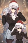 2girls age_difference azur_lane bangs black_jacket blazer breasts brown_legwear christmas crossed_bangs cuboon deal_with_it double-breasted glint graf_zeppelin_(azur_lane) grey_hair hair_between_eyes hands_up hat height_difference holding holding_sack jacket jewelry large_breasts long_hair long_sleeves looking_at_viewer meme miniskirt multiple_girls necklace pantyhose pleated_skirt red_headwear ribbed_sweater sack santa_hat skirt sunglasses sweater twitter_username v-shaped_eyebrows very_long_hair white_skirt zeppelin-chan_(azur_lane)