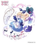 1girl alice_in_wonderland black_footwear blonde_hair blue_dress card card_soldier cat cinderella_nine company_name copyright_name dress fork_hair_ornament frilled_dress frills hat hat_removed headwear_removed highres leg_ribbon long_hair long_sleeves official_art pantyhose playing_card pocket_watch purple_cat ribbon saucer side_ponytail simple_background solo spoon_hair_ornament tea watch white_background white_legwear