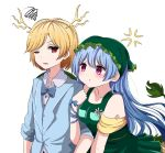 2girls :t adapted_costume anger_vein arm_hug bangs bare_shoulders blonde_hair blue_bow blue_hair blue_neckwear blue_ribbon blue_suit blush bow bowtie breast_pocket breasts commentary dragon_horns dress eyebrows_visible_through_hair flower formal green_dress haniyasushin_keiki head_scarf horns kicchou_yachie long_hair long_sleeves looking_at_another medium_breasts multiple_girls one_eye_closed pocket red_eyes ribbon short_hair simple_background squiggle suit swept_bangs symbol_commentary touhou upper_body v-shaped_eyebrows violet_eyes white_background wrist_ribbon yukome yuri