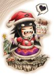 1girl alternate_costume bangs black_hair blunt_bangs blush_stickers boned_meat brooch cake chibi christmas christmas_tree closed_eyes eyebrows_visible_through_hair flower food fruit gradient gradient_background hat heart hidefu_kitayan holding holding_plate jewelry liar_princess meat mittens open_mouth outline plate pom_pom_(clothes) purple_mittens santa_costume santa_hat sharp_teeth solo spoken_heart standing strawberry teeth thick_eyebrows usotsuki_hime_to_moumoku_ouji