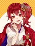 1girl anna_(fire_emblem) bow cape coin coin_hair_ornament commentary_request eyebrows_visible_through_hair fire_emblem fire_emblem_heroes hair_between_eyes hair_ornament japanese_clothes jurge kimono looking_at_viewer new_year obi open_mouth ponytail red_bow red_cape red_eyes redhead sash shiny shiny_hair short_hair side_ponytail smile solo teeth tied_hair white_kimono yukata