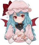 1girl ?? alternate_hair_length alternate_hairstyle artist_name bangs bat_wings blue_hair blush bow commentary_request cropped_torso dress gotoh510 hat hat_bow highres juliet_sleeves long_hair long_sleeves looking_at_viewer mob_cap nail_polish own_hands_together pink_dress pink_headwear puffy_sleeves red_bow red_eyes red_nails remilia_scarlet signature simple_background solo touhou upper_body white_background wings