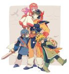1girl blonde_hair blue_eyes cape commentary_request crossover dragon_quest dragon_quest_i dragon_quest_ii ghost goggles goggles_on_head goggles_on_headwear hero_(dq1) hood long_hair multiple_boys prince_of_lorasia prince_of_samantoria princess_of_moonbrook robe short_hair spiky_hair sword weapon white_robe yuza